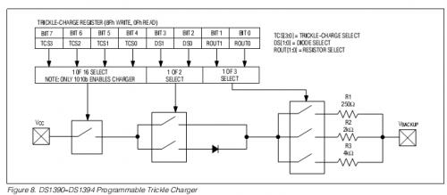 схема включения внутренних элементов для зарядки резервного источника ds1390-ds1394